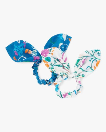 Printed Bow Scrunchie Set