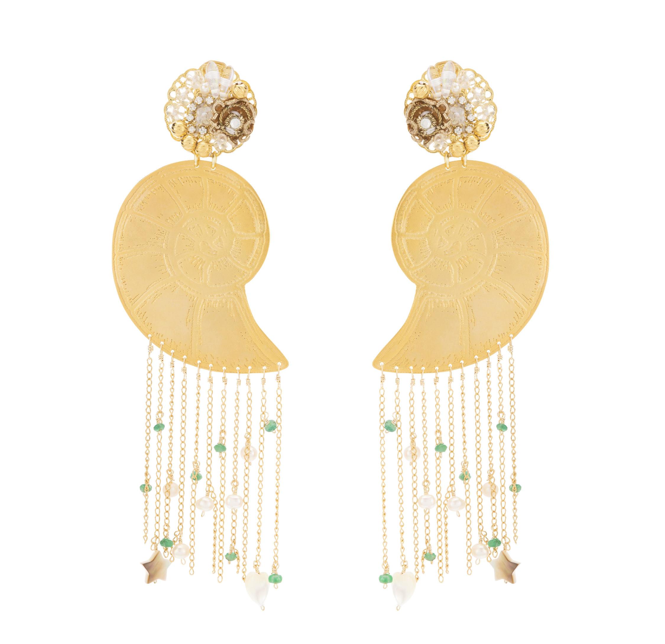 Mercedes Salazar Shell Fringe Earrings 2