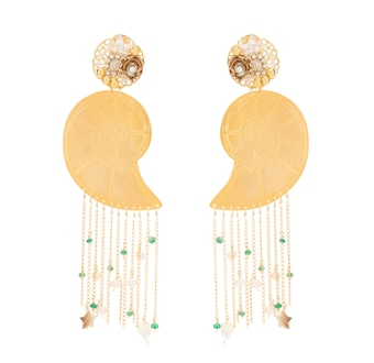 Mercedes Salazar Shell Fringe Earrings 2