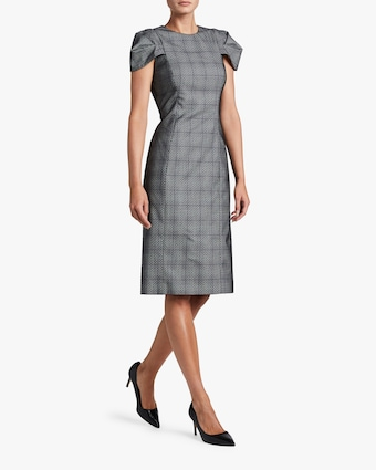 Stretch Wool Glen Plaid Day Dress