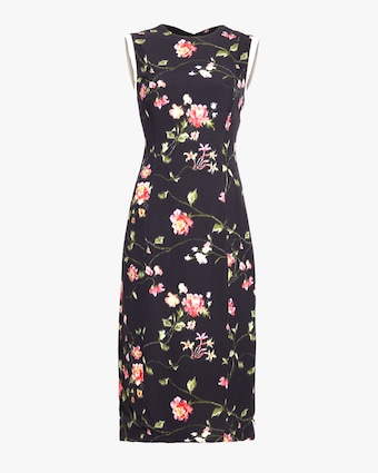 Vine Floral Stretch Crepe Day Dress