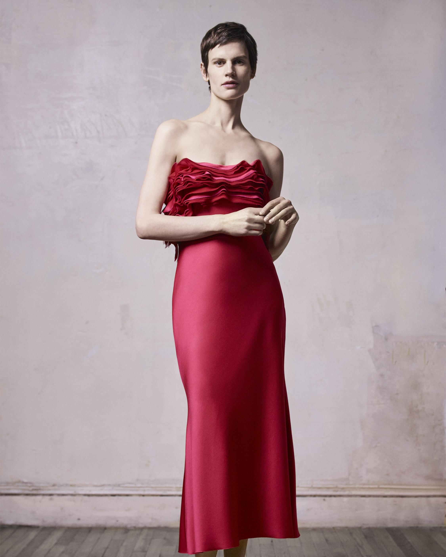 Ruffled Strapless Satin Dress