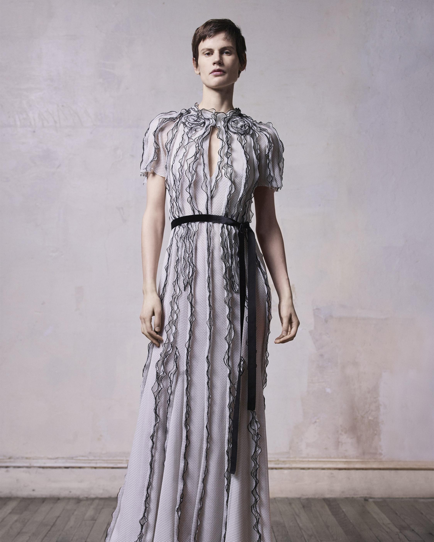 Nano Dot Belted Silk Chiffon Gown