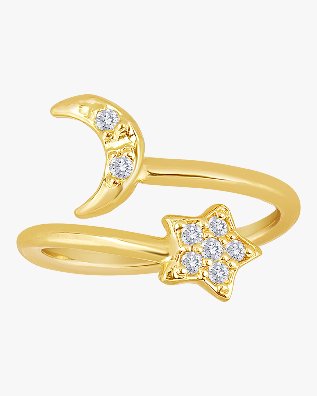 Moon Star Diamond Wire Midi Pinkie Ring