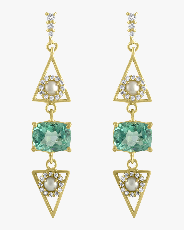 Pearl Triangle Dangle Earrings