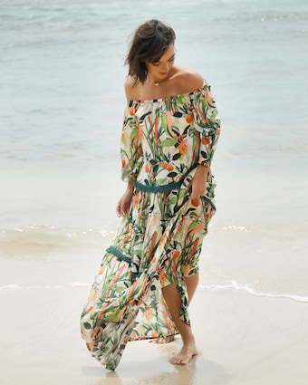 Off The Shoulder Fringed Maxi Dress