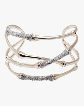 Orbiting Bamboo Crystal Encrusted Cuff Bracelet