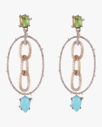 Alexis Bittar Multi-Stone Mesh Link Dangling Post Earrings 1