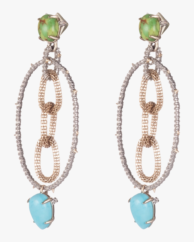 Multi-Stone Mesh Link Dangling Post Earrings