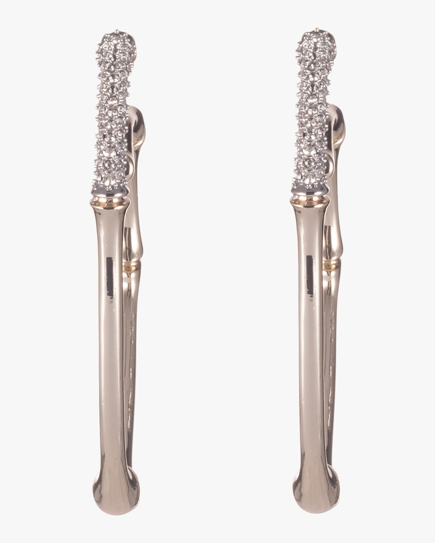 Crystal Encrusted Bamboo Hoop Earrings