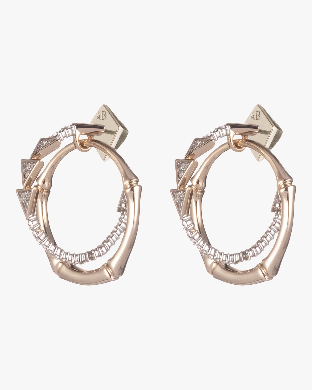 Crystal Encrusted Bamboo Orbiting Post Earrings