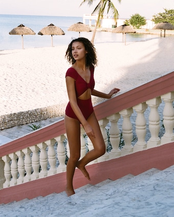 Sangria Off Shoulder One Piece Swimsuit