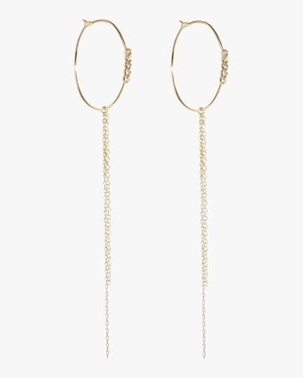 Diamond and Chain Hoop Earrings