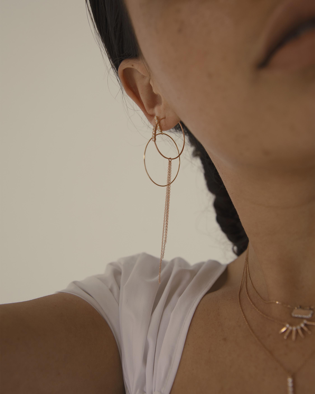 Diamond and Chain Hoop Earrings
