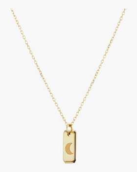 Crescent Moon Tag on Chain