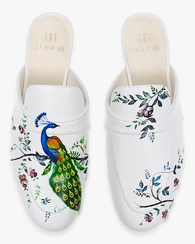 Hand Painted Peacock Floral Mule