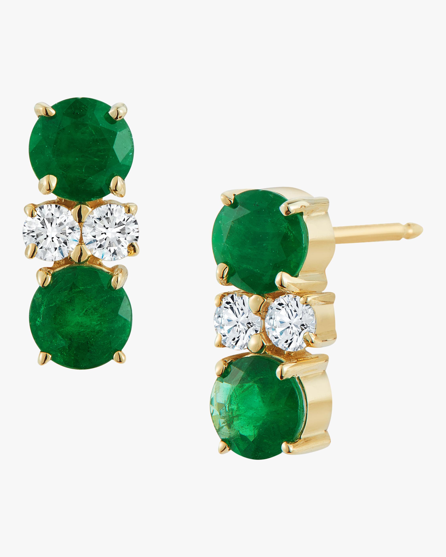 Prive Double Emerald And Diamond Stud Earrings