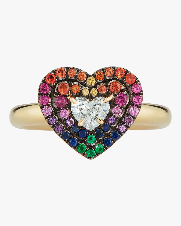Yellow Gold Pavé Diamond Heart Ring