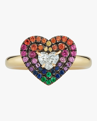 Yellow Gold Pavé Diamond Heart Ring