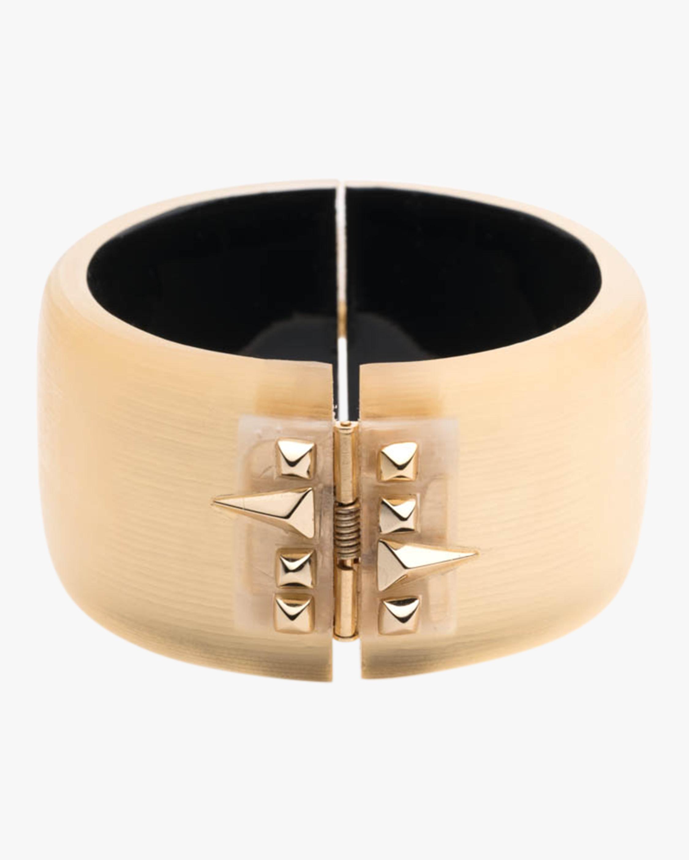 Alexis Bittar Large Golden Studded Hinge Bracelet 2