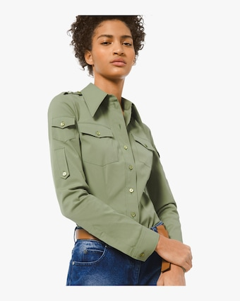 Cotton Poplin Military Top