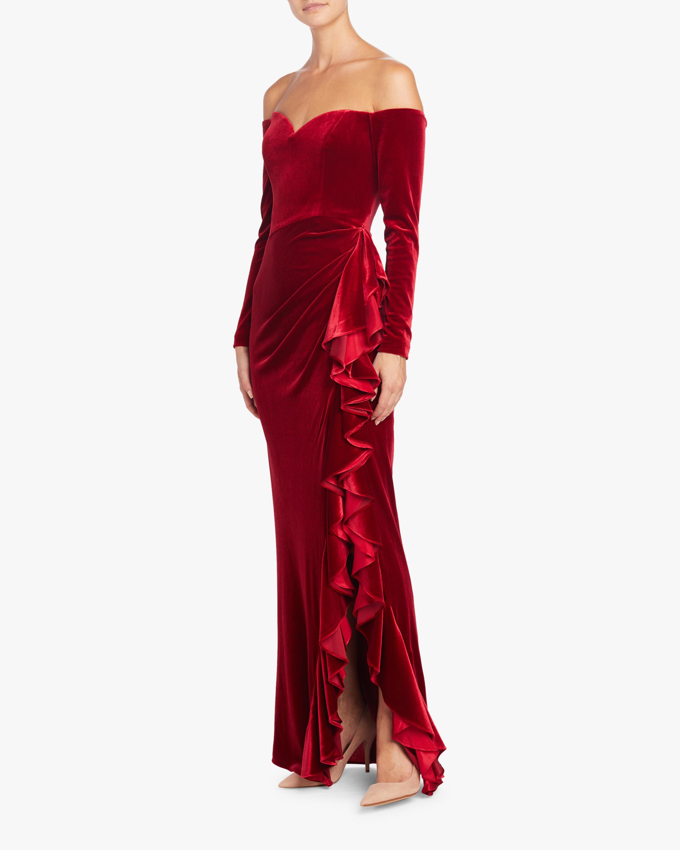 Badgley Mischka Off Shoulder Draped Ruffle Gown 1