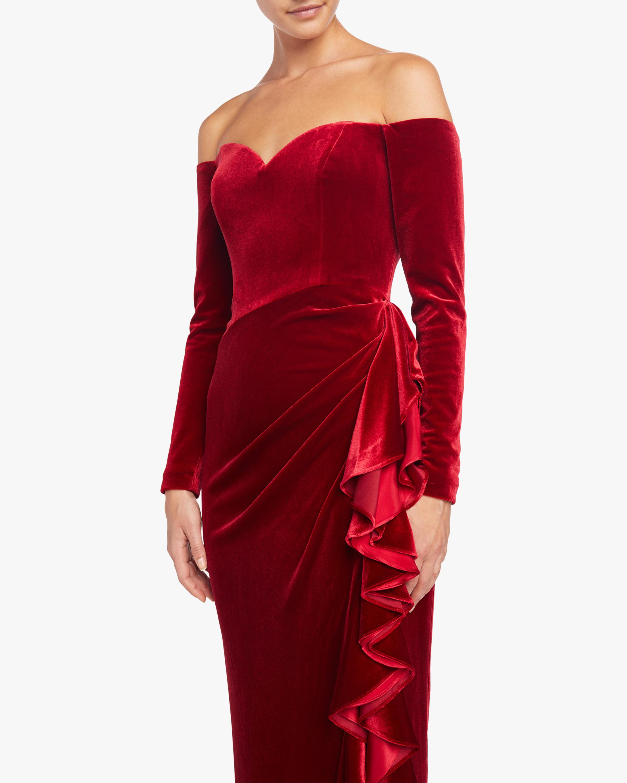 Badgley Mischka Off Shoulder Draped Ruffle Gown 3
