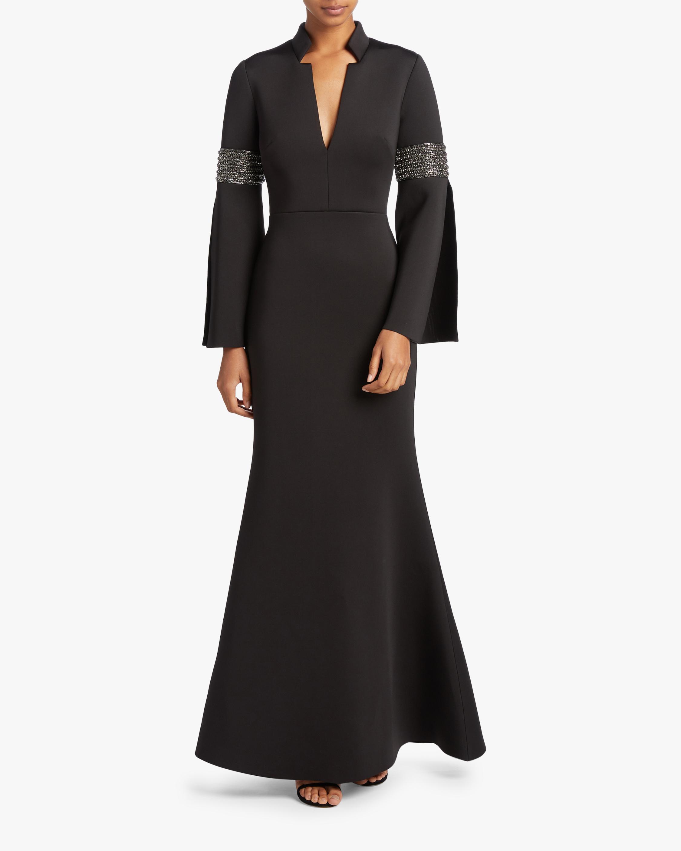 Badgley Mischka Long Sleeve Beaded Gown 1