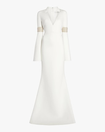 Badgley Mischka Long Sleeve Beaded Gown 1