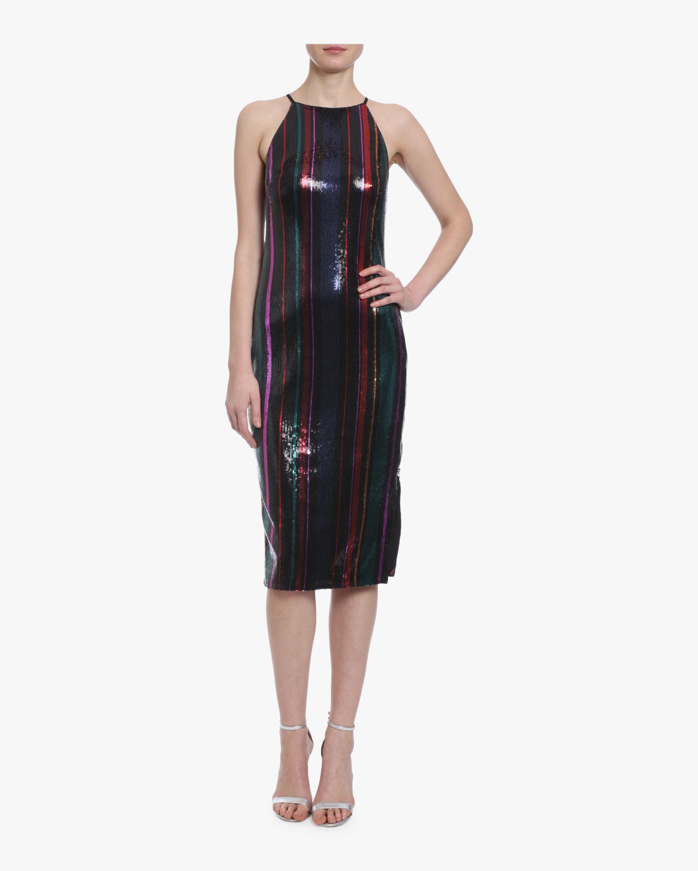 Stripe Sequined Sheath Dress
