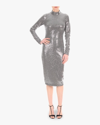 Mock Neck Sequin Dress