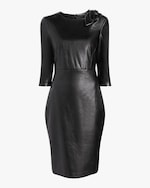 Badgley Mischka Faux Leather Knot Cocktail Dress 0