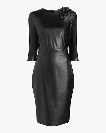 Faux Leather Knot Cocktail Dress