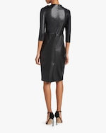 Badgley Mischka Faux Leather Knot Cocktail Dress 4