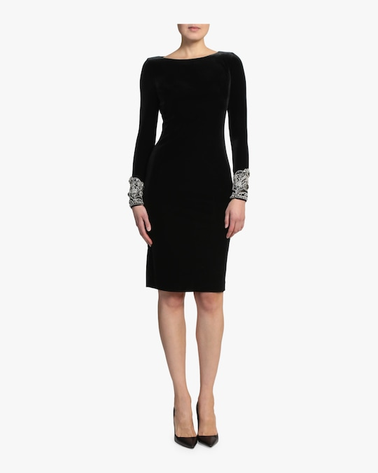 Badgley Mischka Beaded Cuffs Dress 0