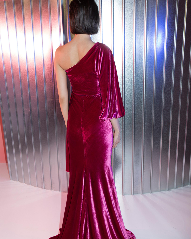 Amaris Velvet One Shoulder Gown