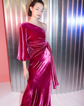 Maria Lucia Hohan Amaris Velvet One Shoulder Gown 2