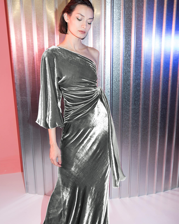 Maria Lucia Hohan Amaris Velvet One Shoulder Gown 2