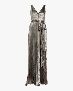 Arely Lurex Chiffon Pleated Gown