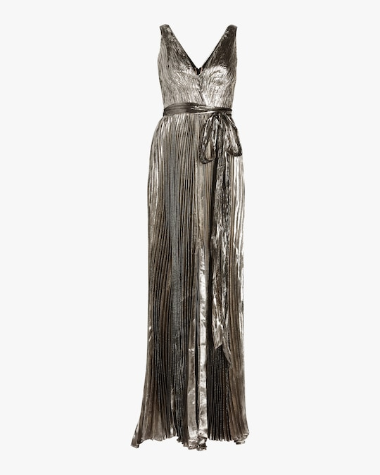 Maria Lucia Hohan Arely Lurex Chiffon Pleated Gown 0