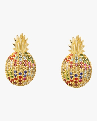 Colorful Sapphires Pineapple Earrings