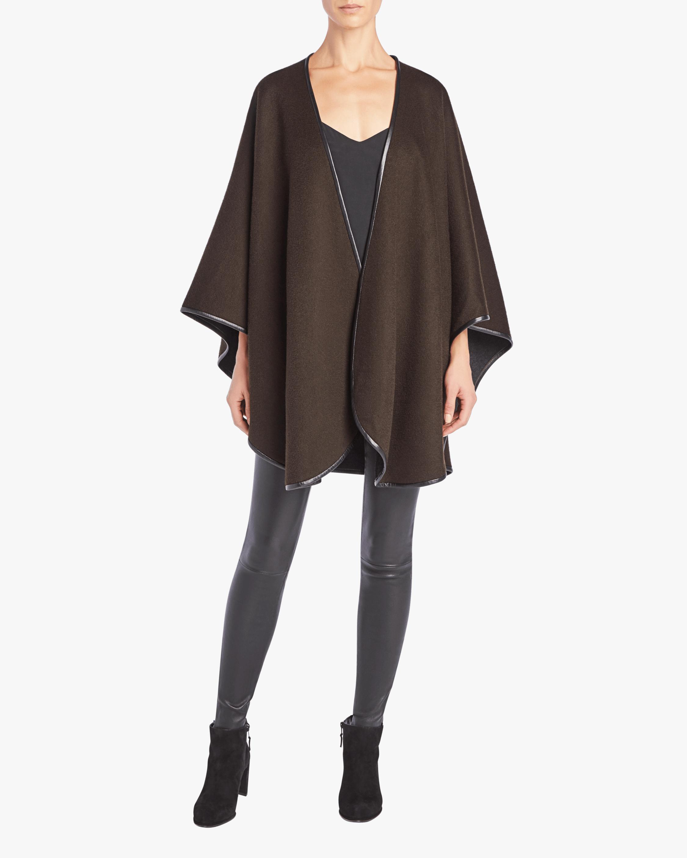 Sofia Cashmere Cashmere Cape With Leather Trim 1