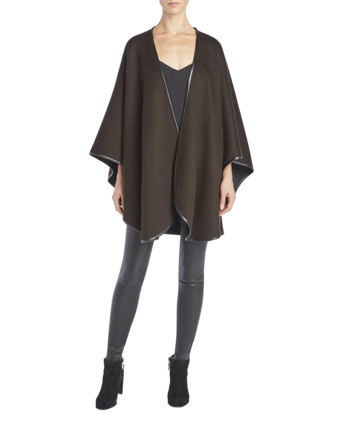 Cashmere Cape With Leather Trim image two