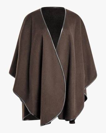 Cashmere Cape With Leather Trim