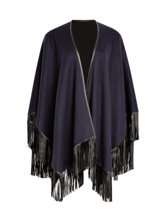 Cashmere Cape With Leather Fringe