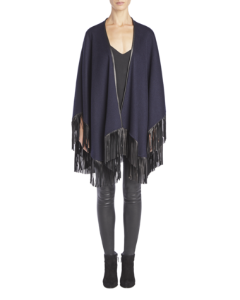 Cashmere Cape With Leather Fringe image two