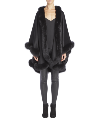 Cashmere Cape With Fox Fur Trim image two