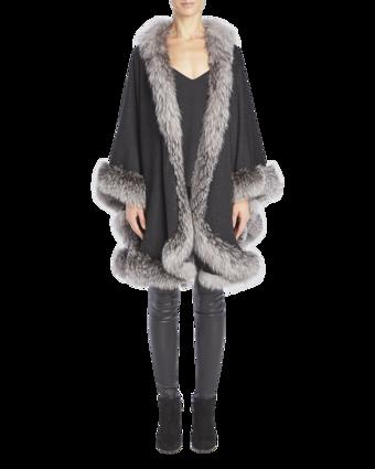 Cashmere Cape With Indigo Fox Fur Trim image two
