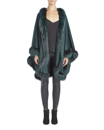 Cashmere Cape With Silver Fox Fur Trim image two