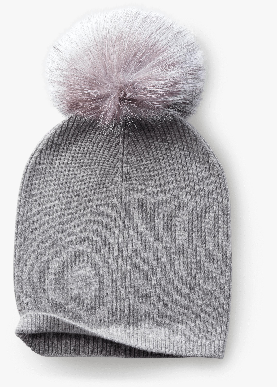 Cashmere Hat With Fox Fur Pom